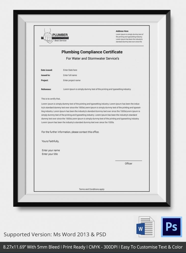 Plumbing Services Compliance Certificate
