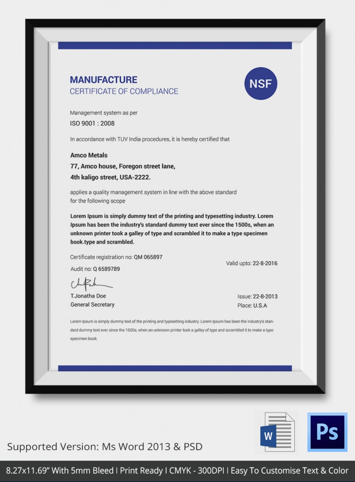 Manufacturing Services Compliance Certificate
