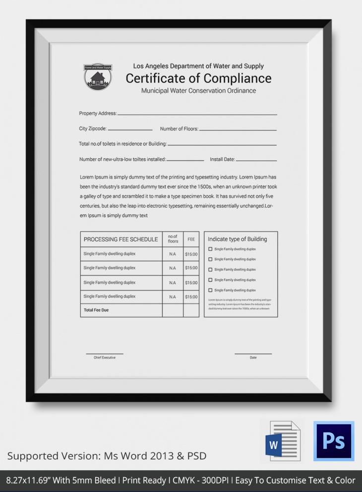 Letterhead Size Certificate of Compliance