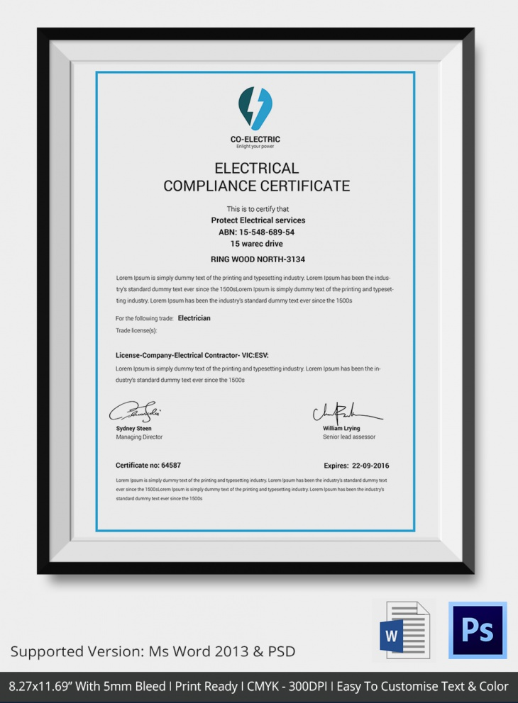 Electrical Companies Compliance Certificate