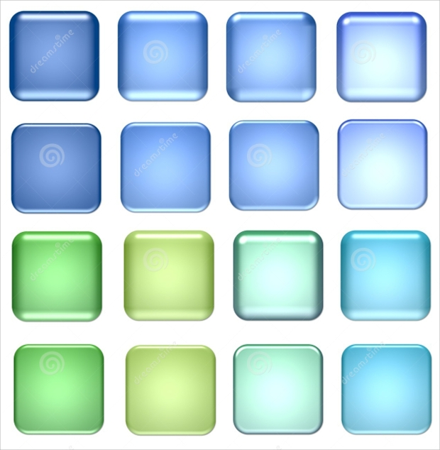 Blue and Green Glass Buttons