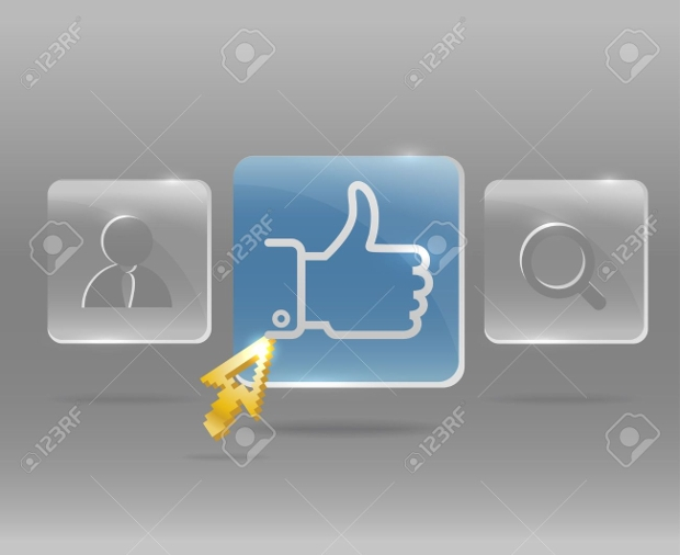 Social Media Menu Glass Buttons