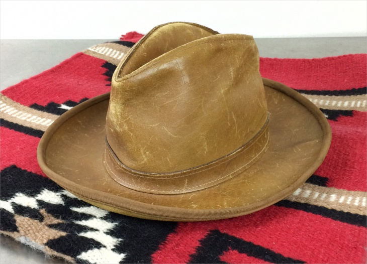 Mens Brown Leather Hat