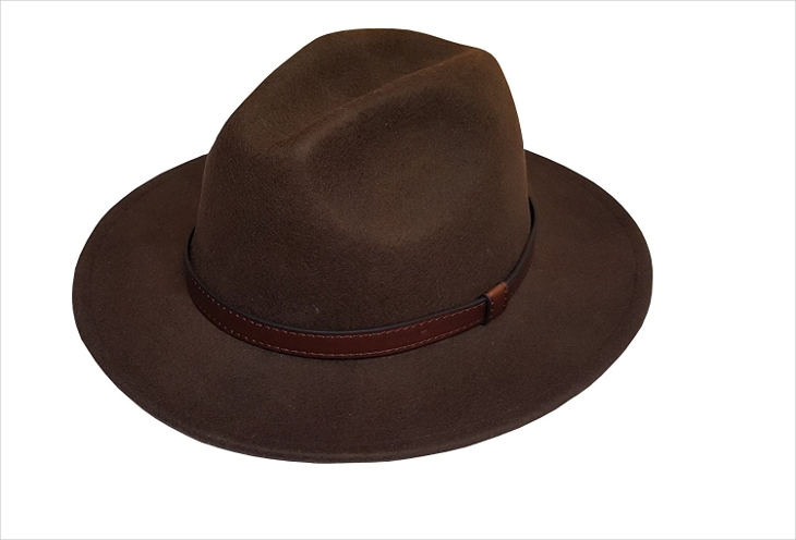 Mens Wide Brim Leather Hat