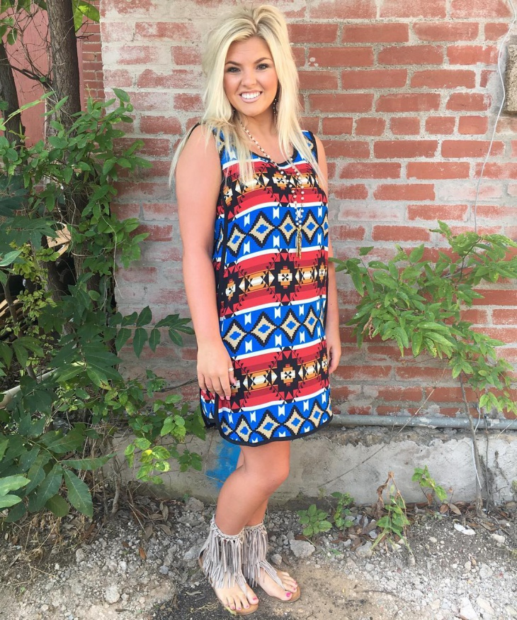 aztec geometric dress