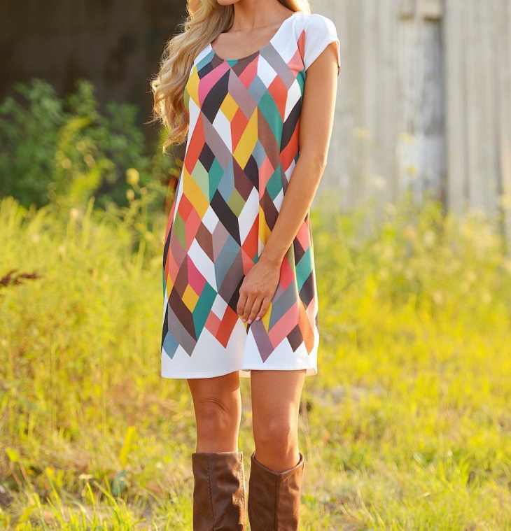 colorful geometric dress