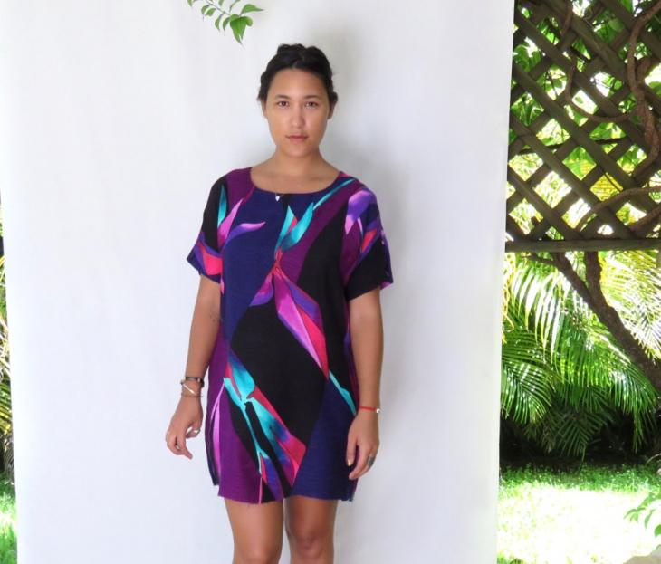 geometric print shift dress