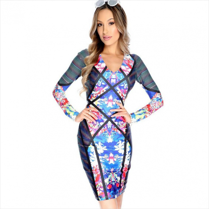 geometric bodycon dress idea