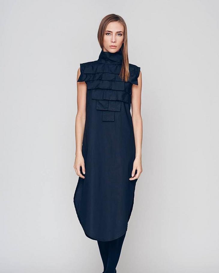 black geometric dress idea