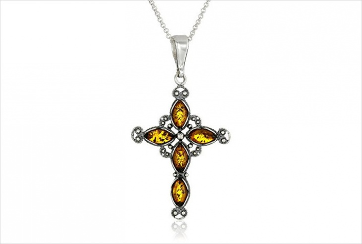 amber cross pendant necklace