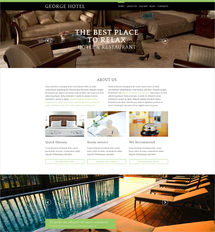 hotels one pagedrupal template