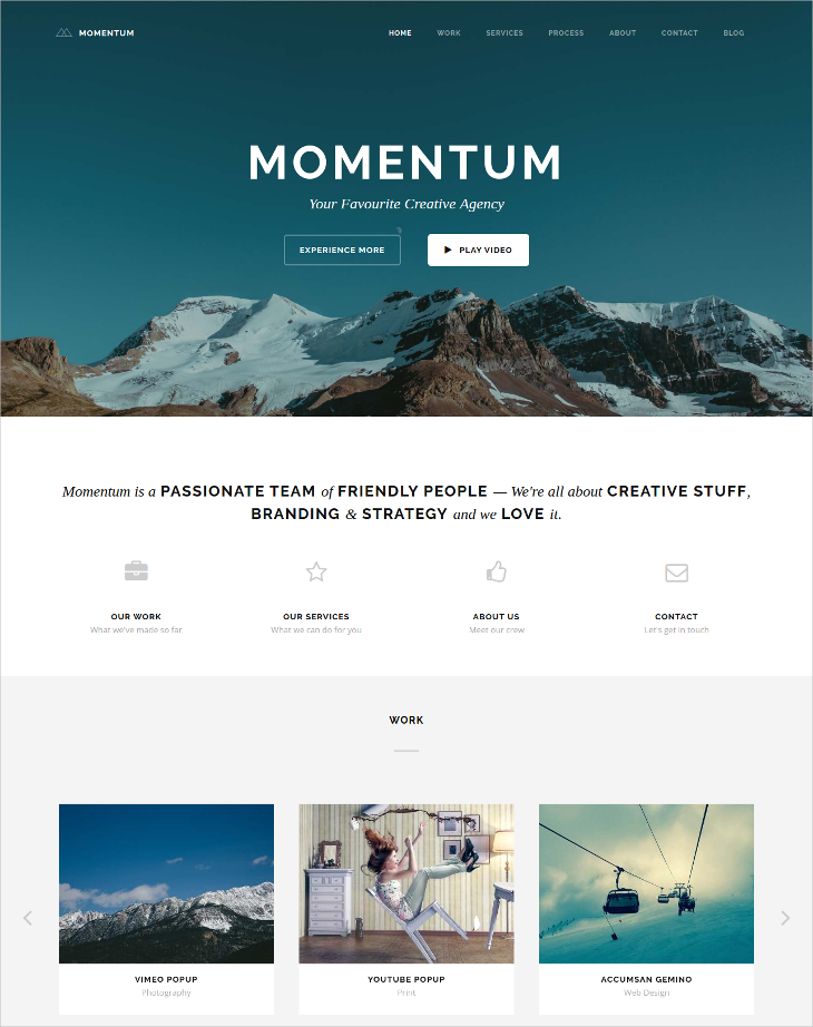 simple creative one page drupal theme