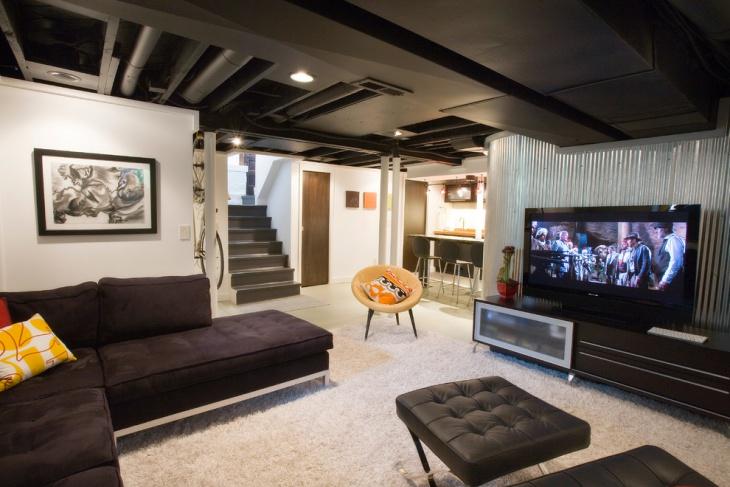 black ceiling basement idea