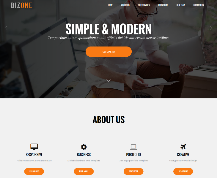 simple modern drupal one page theme