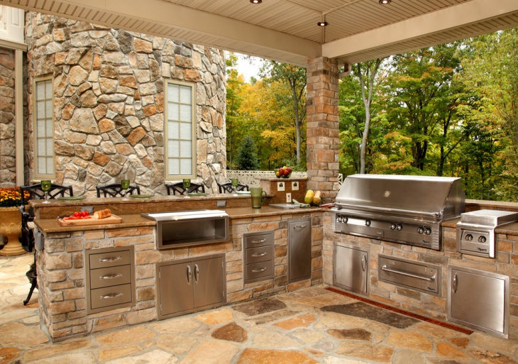 17 outdoor kitchen island designs ideas design trends for Outdoor stone kitchen designs