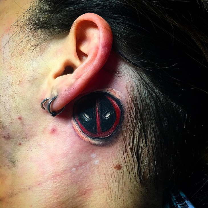 deadpool tattoo for back of ear