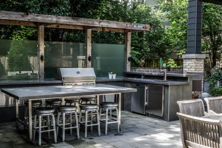 L Shaped Outdoor Kitchen Island