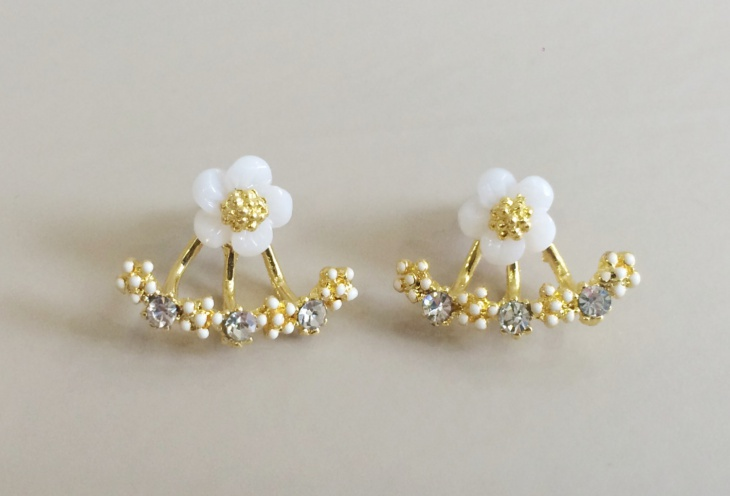 Rhinestone Daisy Earrings