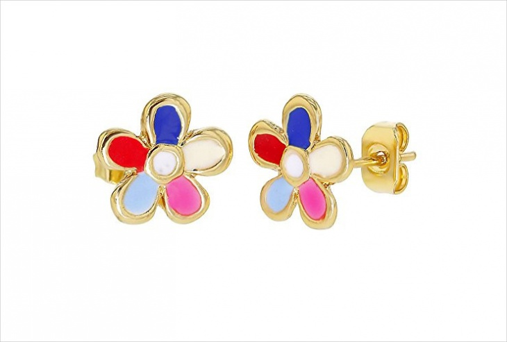 Enamel Daisy Earrings