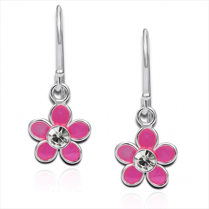 Pink Daisy Flower Earrings