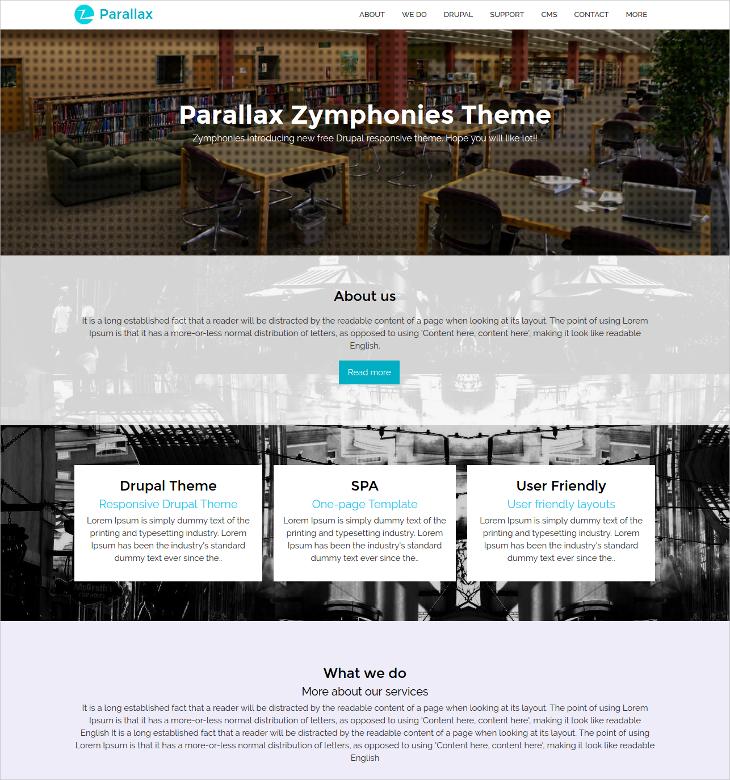 Parallax Zymphonies Onepage Theme