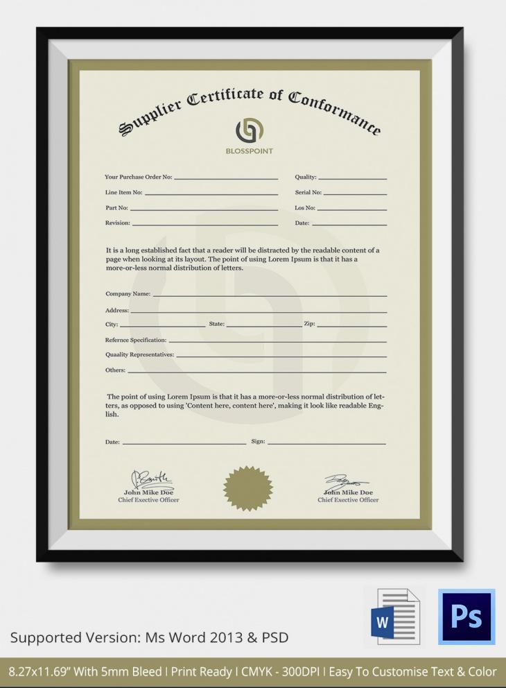 Supplier conformity certificate