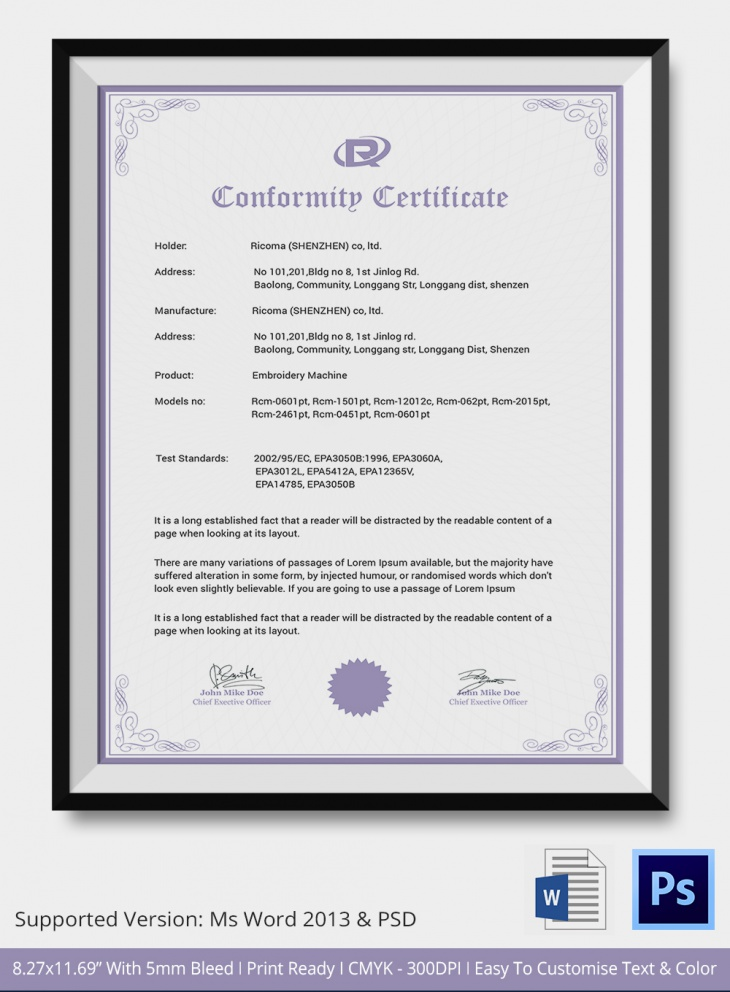 7 Conformance Certificates - Psd & Word Designs | Design Trends