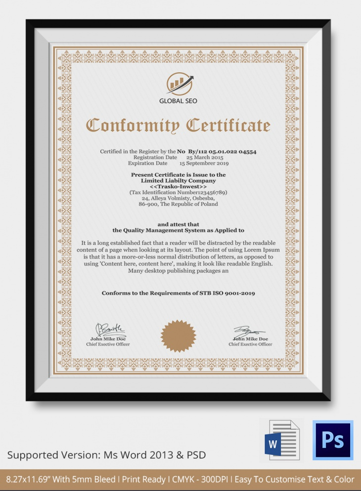 manufacturer certificate of conformance