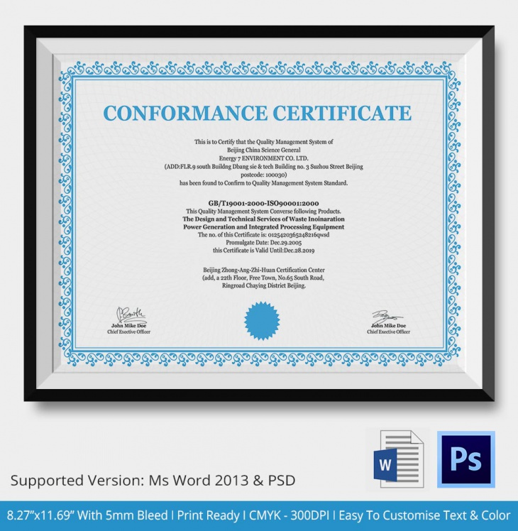 7 conformance certificates psd word designs design for Certificate of conformance template word