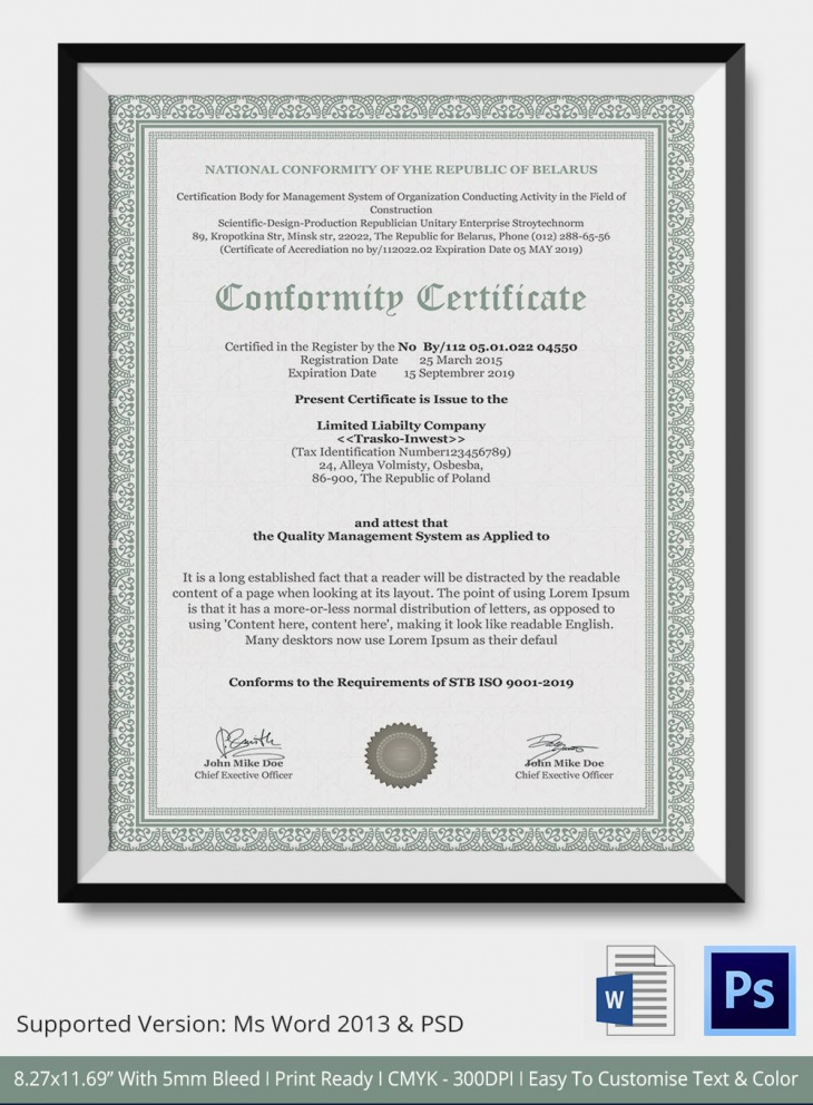 7 conformance certificates psd word designs design for Certificate of conformance template