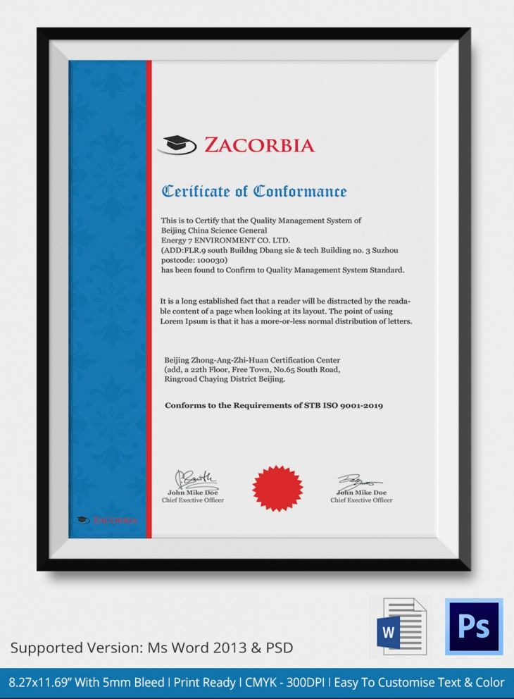 7 Conformance Certificates PSD Word Designs – Certificate of Conformance Template
