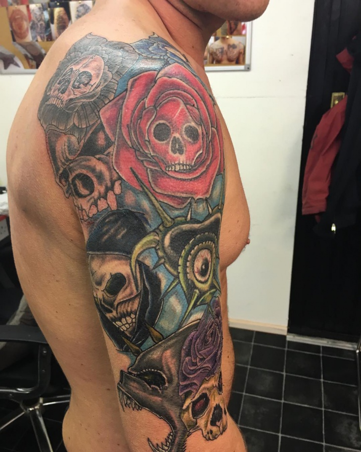 Skull Sleeve Tattoo Design