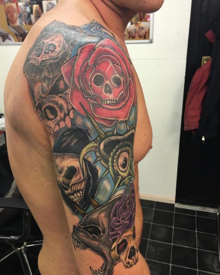 skull sleeve tattoo design