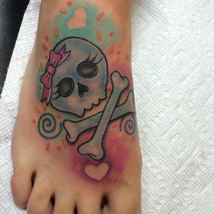 girly skull tattoo design