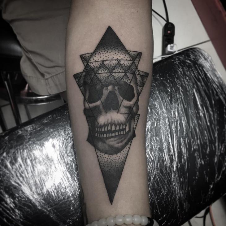 geometric skull tattoo idea