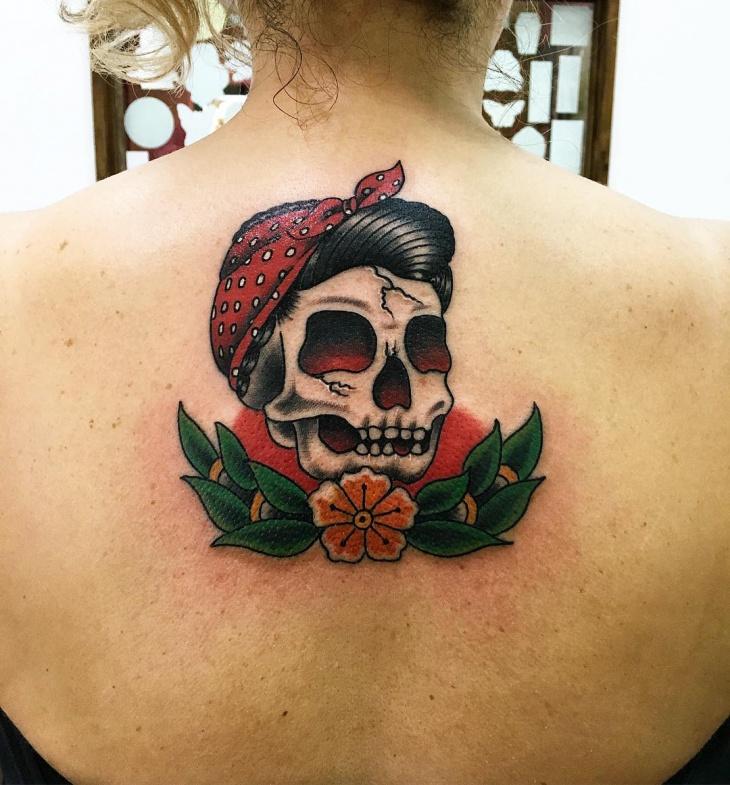 skull back tattoo for women
