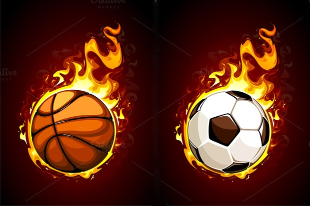 flaming balls vector design