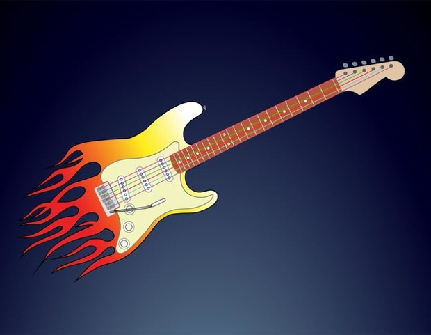 flaming guitar vector
