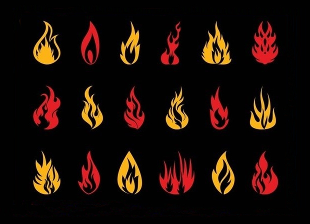 burning flames vector set