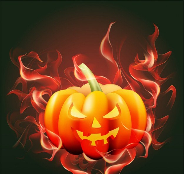 halloween pumpkin with flames vector