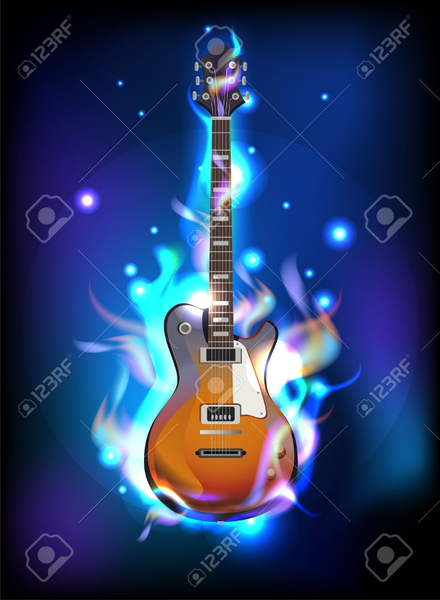 burning guitar in blue flames vector