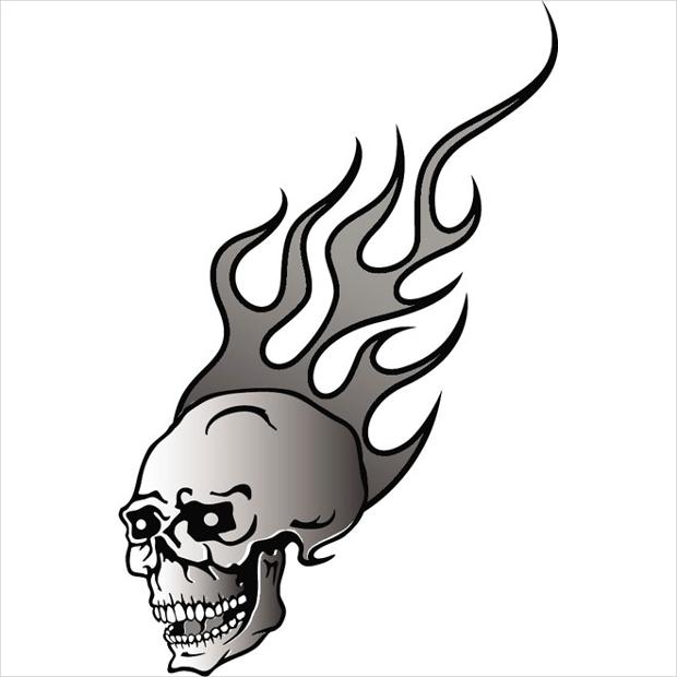 skull in flames vector