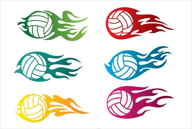 Volleyball In Flame Vectors