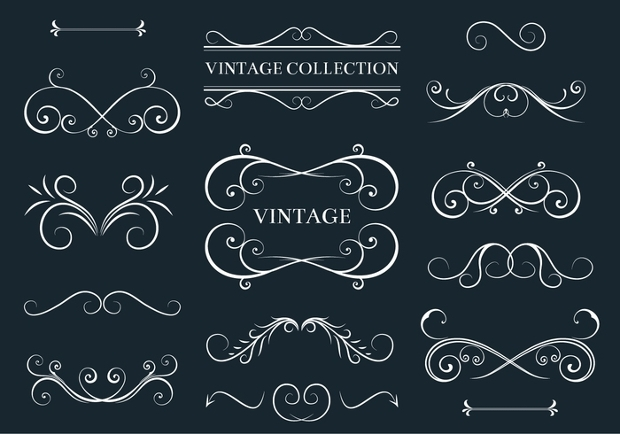 Acanthus and Decor Elements Free Vector