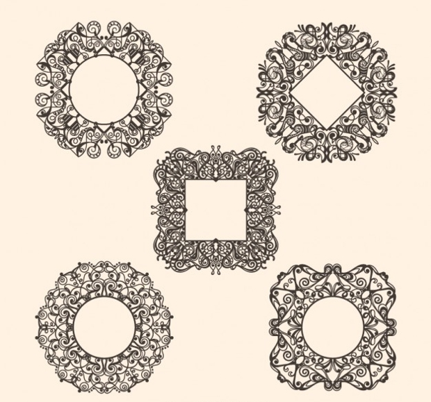 Decorative Circle and Square Framework Vector