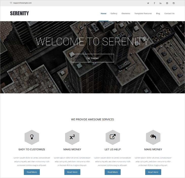 serenity business portfolio drupal theme
