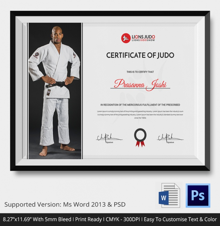 Certificate of Judo Template