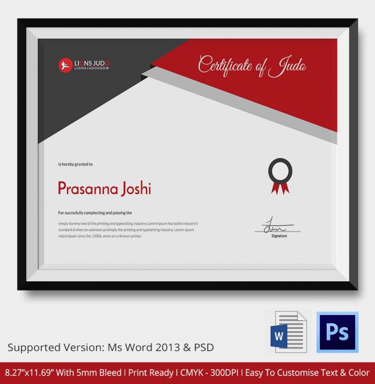 Landscape Size Judo Certificate