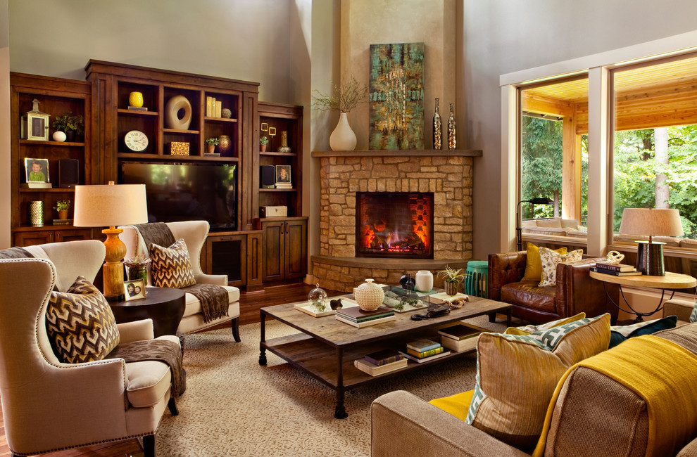 brick corner fireplace design idea