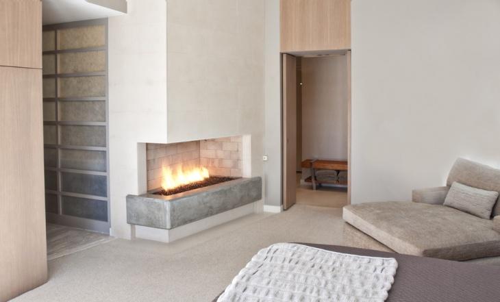 open corner fireplace design